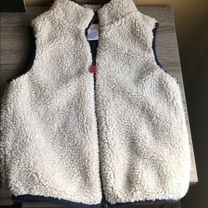 Cozy 3T Vest blue and cream warm and cozy